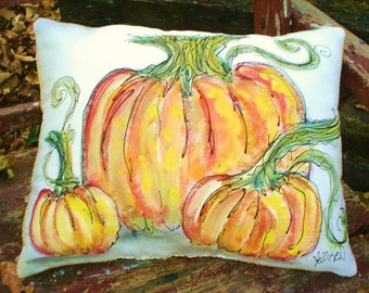 Pretty Pumpkins Hand Painted Canvas Pillow Fall Decor Made To Order