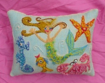 Original Freehand Embroidered Pillow Made To Order For ANY Theme