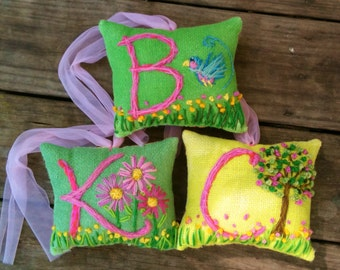 Hand Embroidered Initial  Mini Pillow You Choose Any Design YelliKelli