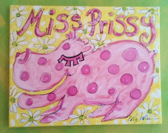SALE Miss Prissy Pink Hippo Girly Painting Ready To Ship
