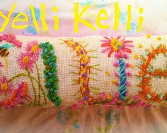 Personalized Name Pillow Freehand Embroidered Bohemian FIVE Letters Custom Made