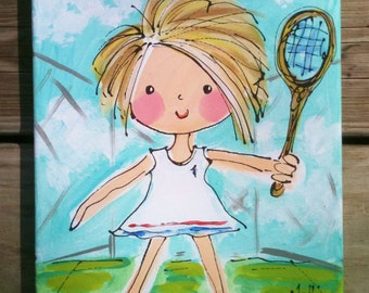 Tennis Girl Original Painting Made to Order 8x10 Canvas YelliKelli