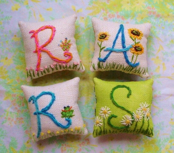 ALL MY CHILDREN   Hand Embroidered   Initial Mini Pillow Any Small Motif  With Border Design