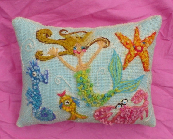Sea Life Freehand Embroidered Crewel Pillow Made To Order