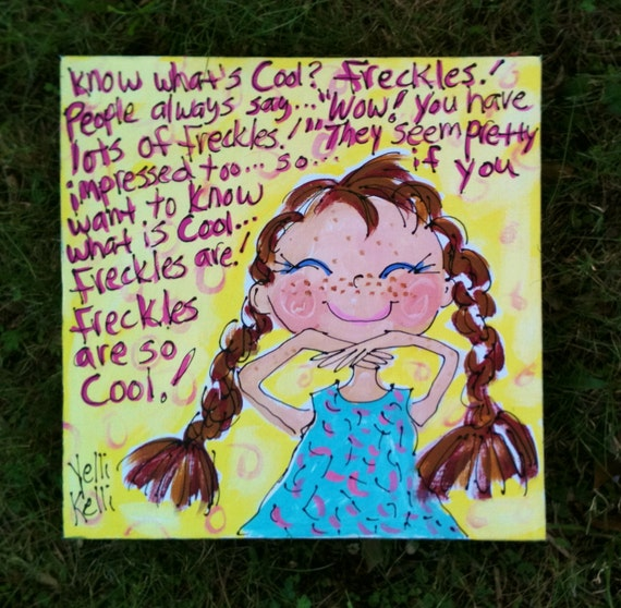 Freckles Are Cool Original Painting Made To Order Girls Room YelliKelli