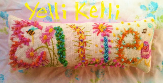 Freehand Embroidered Bohemian SIX Letters Name Pillow Custom Made