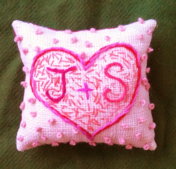Items similar to valentine hand embroidered mini pillow