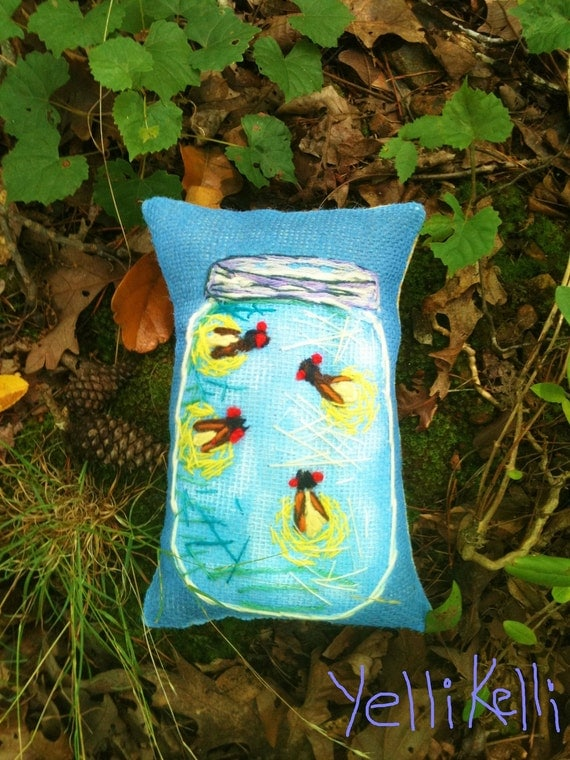 Fireflies in a Jar Hand Embroidered Pillow Made To Order