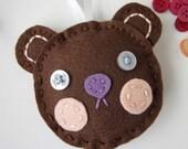 Eco Felt Teddy Bear Ornament Blushing Cheeks