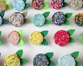 Your Choice Rosette Vintage Fabric Flower Brooch Pin Felt Leaves MADE TO ORDER