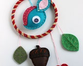 Dreamcatcher Deer Wall Hanging Plush Leaves Acorn Cute Made to Order