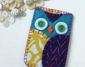 Felt Owl iPhone Samsung Blackberry Case Cozy Made to Order