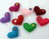 Wholesale Lot of 8 Felt Heart Ornaments Embroidery Coloful Party Favors Valentines Day Made to Order