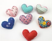 Wholesale Lot Set of 8 Heart Pin Brooches Heart Shaped Felt Fabric Cute Valentines Day Love