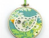 Sale Felt Bird Embroidery Hoop Wall Art Modern 4 inch Hanging Cute Green Blue READY TO SHIP