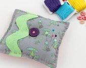 Sale Spring Mushroom Modern Pin Cushion Sewing Room Gray Purple Green