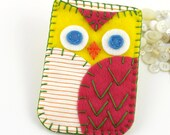Felt Owl iPhone Samsung Blackberry Case Cozy Pink Yellow Orange Made to Order