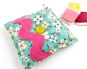Spring Floral Modern Square Pin Cushion Sewing Room Pink Aqua Yellow