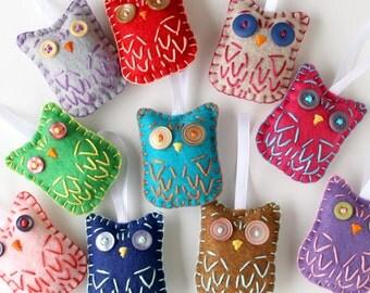 Wholesale Lot of 8 Eco Felt Owl Ornaments Party Favors Eco Friendly