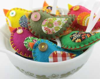 Wholesale Lot of 16 Eco Felt Bird Ornaments Eco Friendly Party Favors Gifts