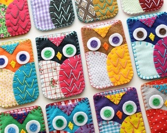 Custom Felt Owl Phone Case Cozy Iphone 5 Samsung Blackberry MADE TO ORDER