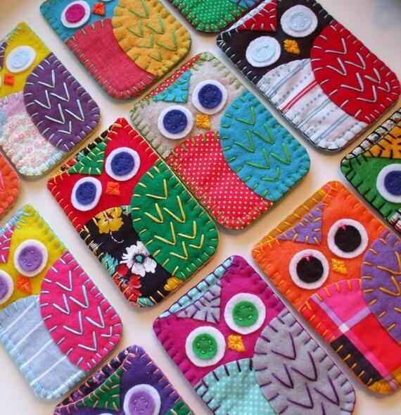 Felt Owl Ipod Iphone Case Blackberry Made to Order Cozy