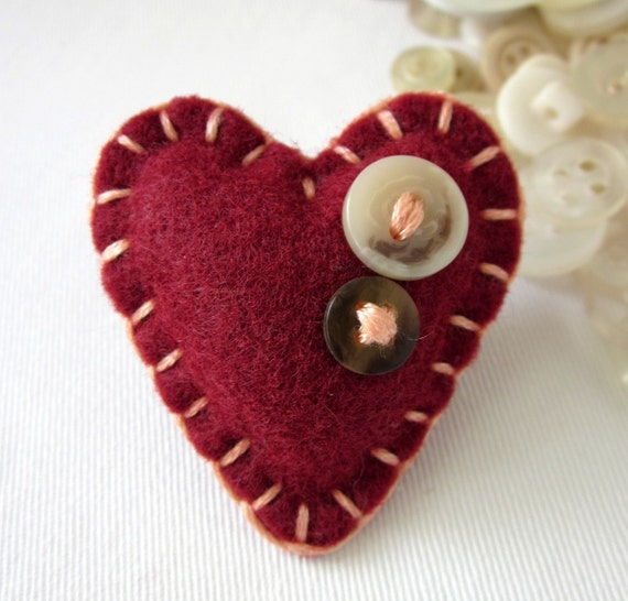 Eco Felt Heart Pin I Love You I Heart You Maroon Peach Dark Red