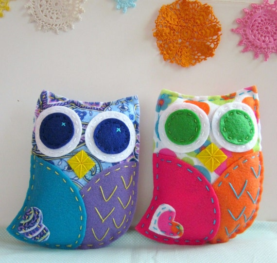 pdf owl softie pattern felt hand sewing embroidery by
