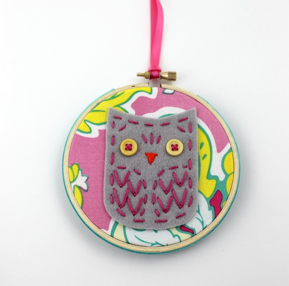 Felt Owl Embroidery Hoop Wall Art Modern 4 inch Hanging Cute Whimsical READY TO SHIP