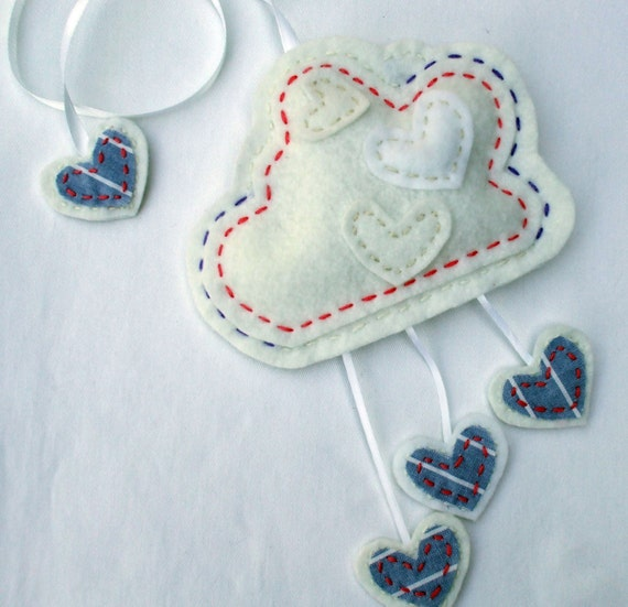 fog of love fluffy cloud wall hanging mobile felt embroidery