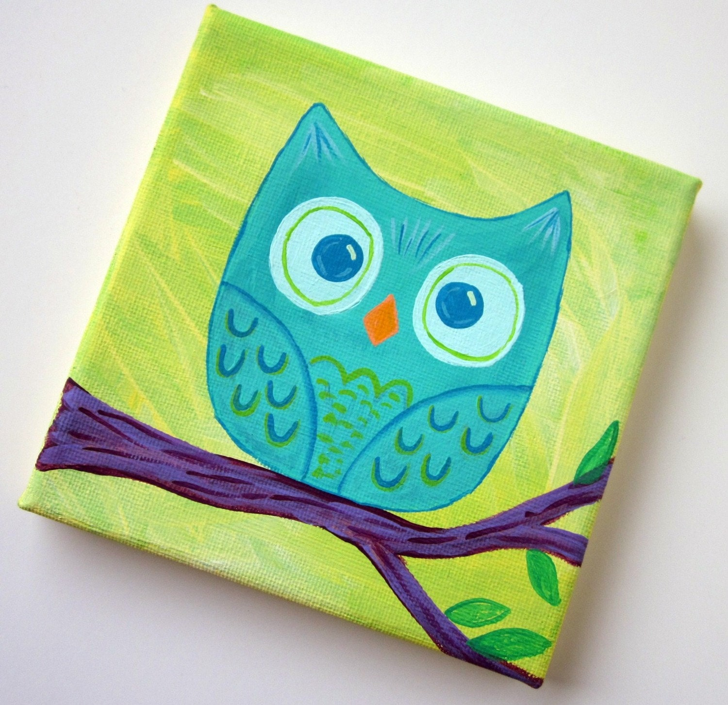Teal Owl Tree Branch Original Acrylic Painting 5 x 5 inch