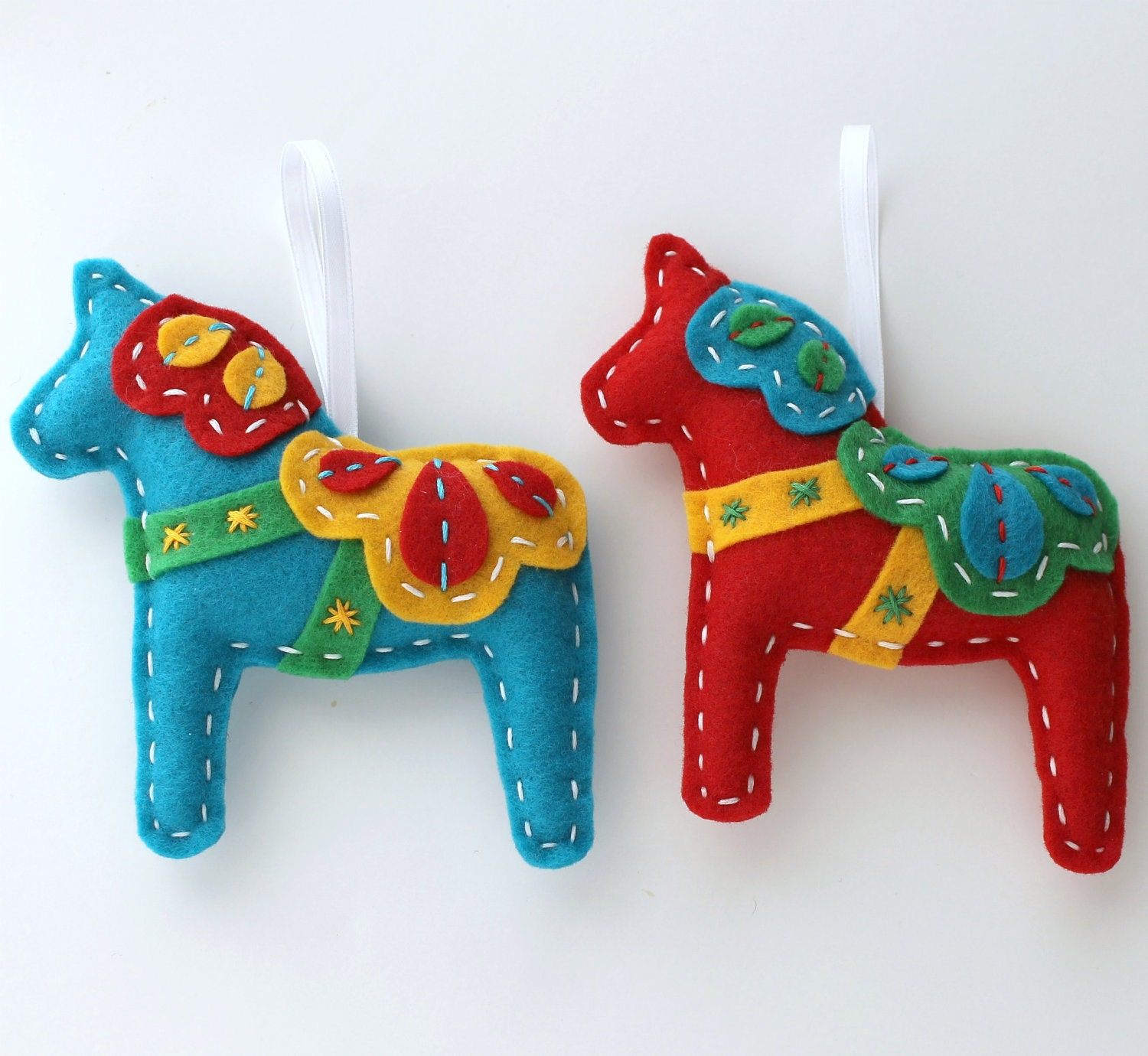 Christmas Tree Shaped Ornaments Are Handmade From 100 Recycled Eco Friendly Felt Hand: Dala Horse Ornaments. Set Of 2. Red And Teal. Christmas