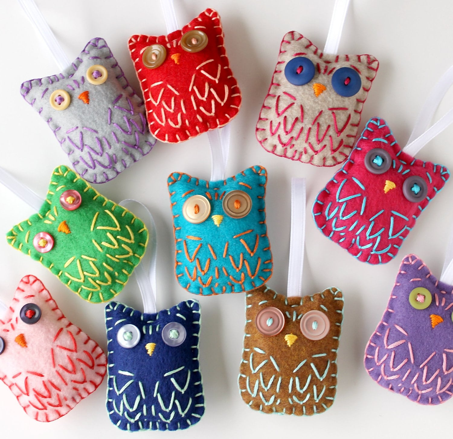 Christmas Tree Shaped Ornaments Are Handmade From 100 Recycled Eco Friendly Felt Hand: Felt Owl Ornaments. Wholesale Lot. Set Of 8. Embroidery