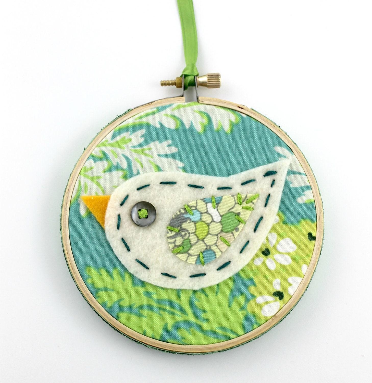 Sale felt bird embroidery hoop wall art modern inch hanging