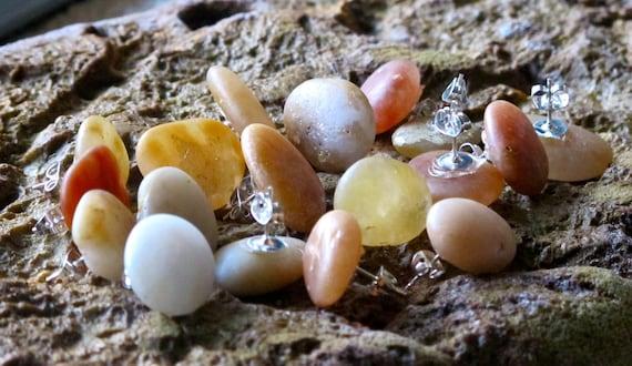 Natural Stone Stud Earrings