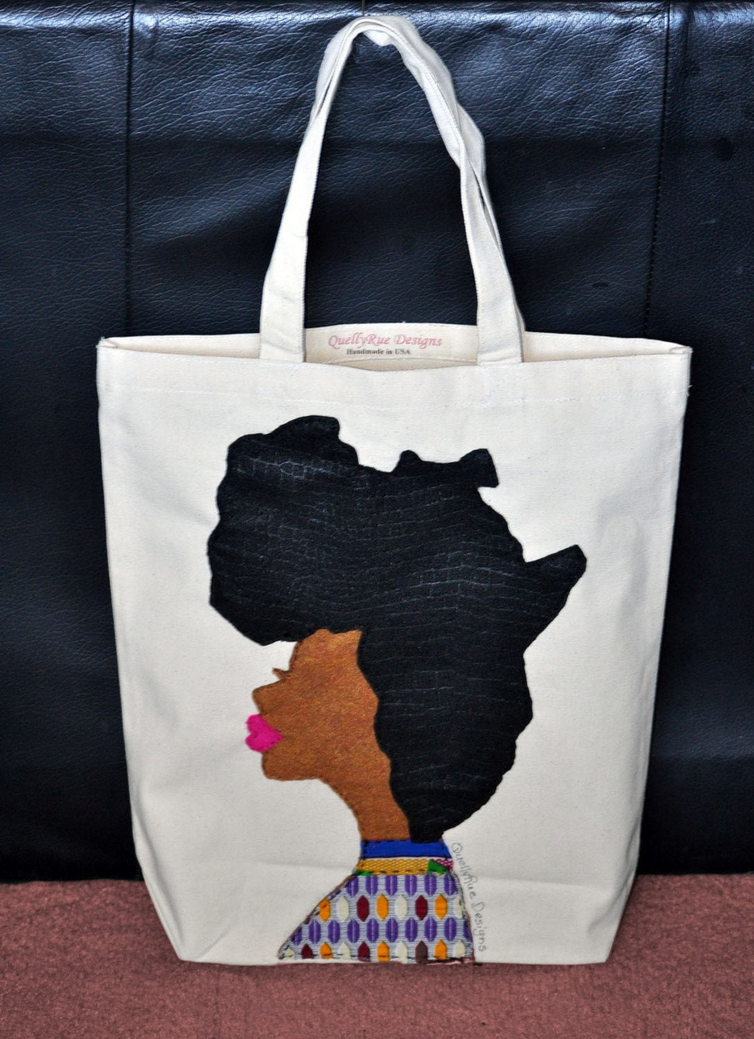 Afro Woman Tote Bag By Quellyruedesigns On Etsy