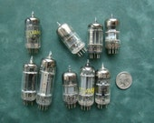Nine old radio or TV tubes for steampunk, jewelry, or assemblage