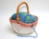 Yarn Bowl / Knitting / Crochet / Needlecrafts / Pink and White Heart