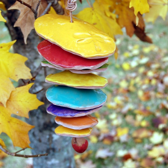 Pine Cone Wind Chime / Garden / Outdoor / Whimsical / Colorful / Feista