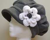 Charcoal grey satin lined winter fleece hat with crocheted flower - best hat for long, natural, curly hair, short or no hair - MADE TO ORDER