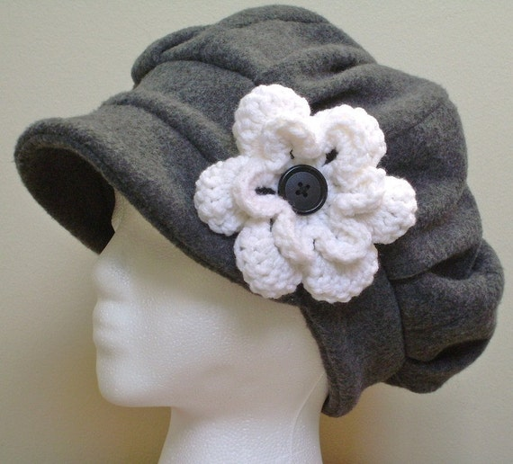 Charcoal grey ladies fleece hat with white crocheted flower - available in any color - MADE TO ORDER