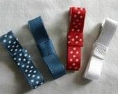Americana set of 4 school uniform alligator clips - barrettes nonslip grip