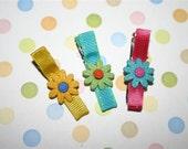 Pretty flower button trio alligator barrette clips nonslip grip sampler