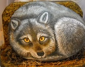 Resting Wolf Painted River Stone Art OOAK
