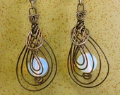 Opalite and Blackwire Steel Earrings