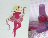 RESERVED FOR CLAIBS-Personalized Ballerina Notecard-with hand painted glitter (set of 20)