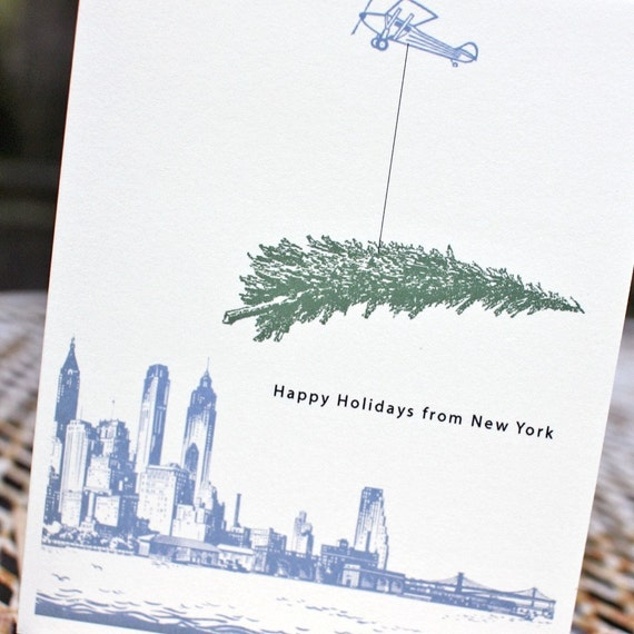Personalized Holiday card- Happy Holidays from New York (set of 10)