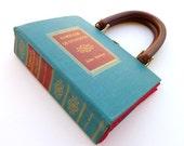 Book Purse Handbag- Familiar Quotations Teal and Red- polka dot