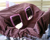 FREE SHIPPING  \/  LAST ONE Sweet Chocolate and Pink Polka Dot Travel Lite Shopping Cart   \/   Highchair Cover