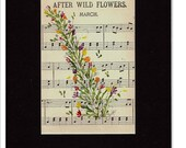 """ORIGINAL Painting """"Parade of Flowers"""" Marching  on Vintage Music Sheet 'After Wildflowers' March"""